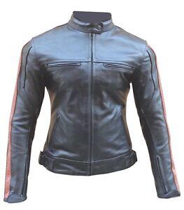 miglior servizio 57c71 ecb73 Details about Giacca giubbotto da moto in pelle per donna femminile XS S M  L XL XXL 40 42 44