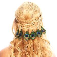 Peacock Feather Hair Grip Clip Chain Headpiece Festival Accessories Headband