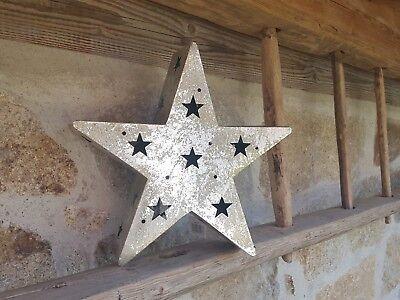 Deko Stern silber Metall Advent Weihnachten Fensterdekoration 61127 Teelicht