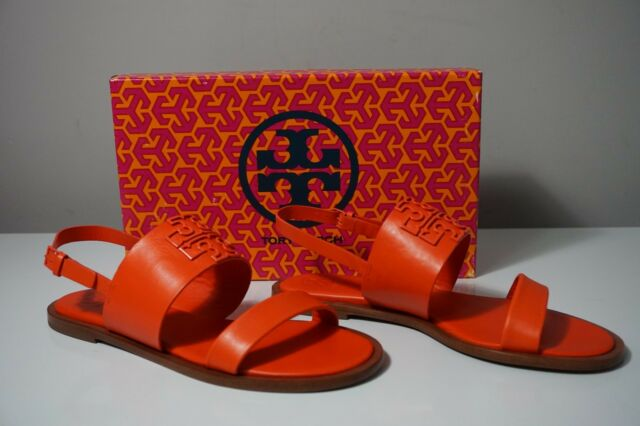 3c697fb6d7e2 Tory Burch Melinda Poppy Red Leather Powder Coated Sandals 9 for ...