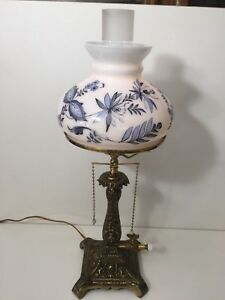 Vintage-Brass-Table-Lamp-with-Milk-Glass-Hurricane-Shade-and-Floral-21-034-Tall