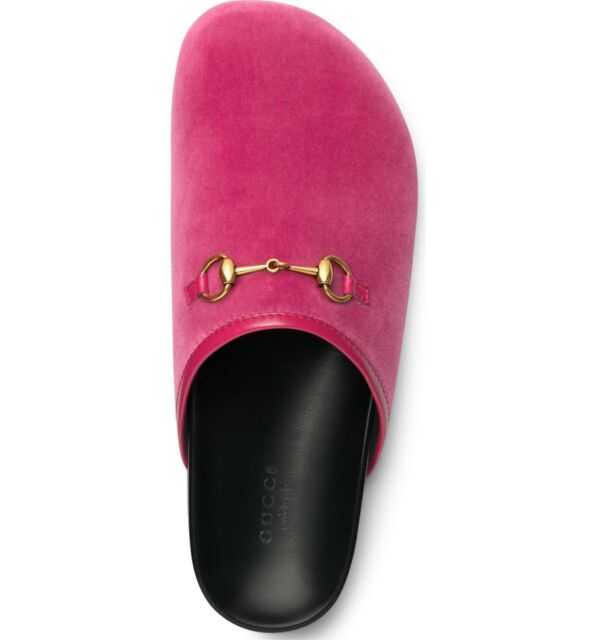77094fe02 Gucci River Horsebit Pink Velvet Mules Slides Clogs Flats 8 38 for ...