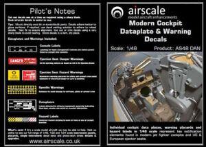 Airscale-1-48-Moderno-Cockpit-Datos-amp-Advertencia-Calcomanias-AS48DAN