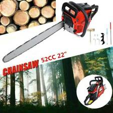 "22"" Bar Gas Powered Chainsaw Chain Saw 52cc Wood Cutting Aluminum Crankcase"