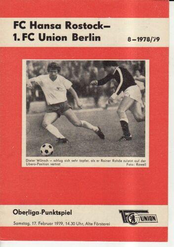 FC Hansa Rostock OL 78//79  1 FC Union Berlin