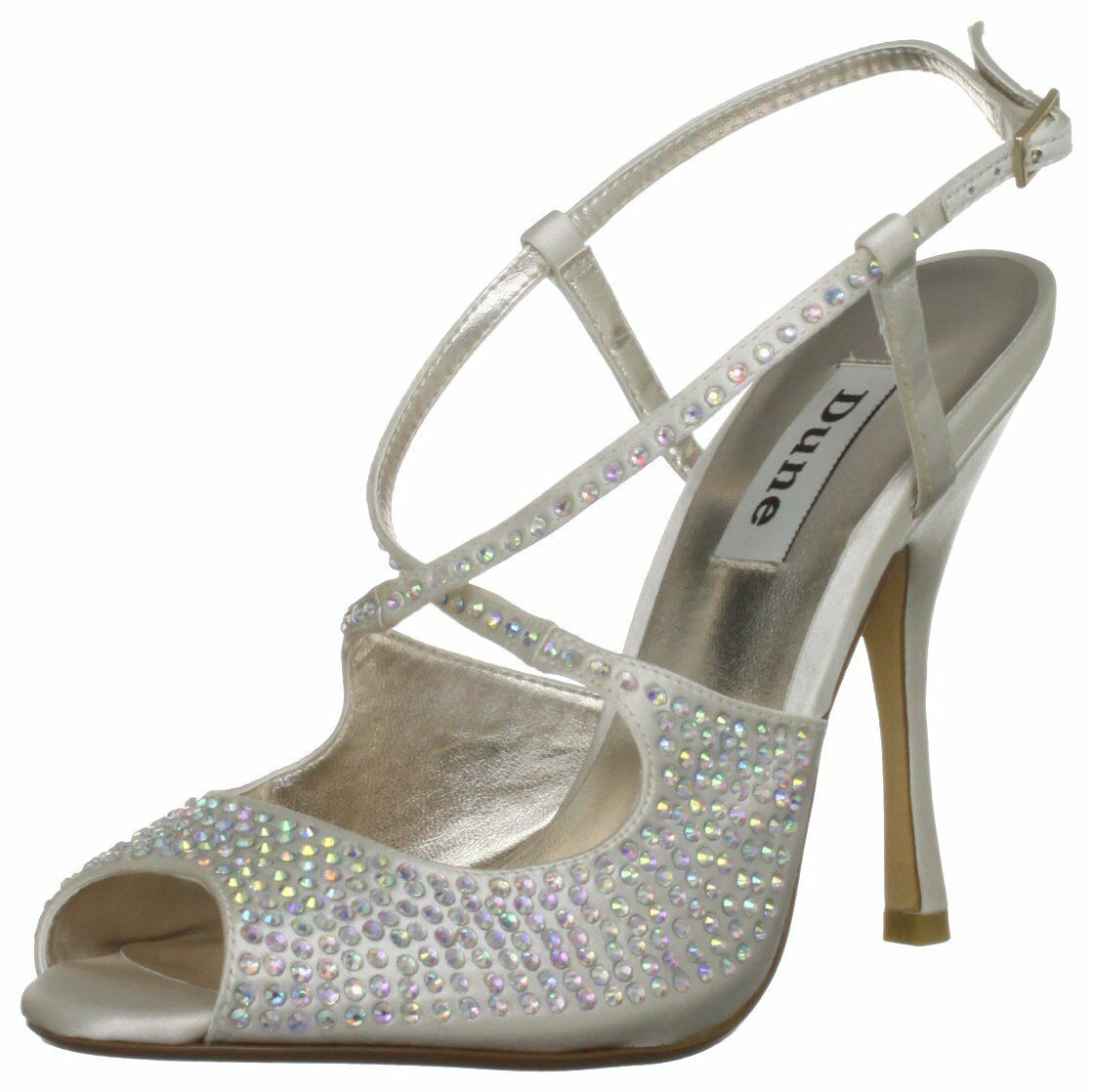 BN   DUNE SIZE 4 5 6 7 8 IVORY CREAM SILVER DIAMANTE HANNERS BRIDAL SHOES