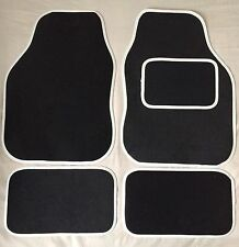 CAR FLOOR MATS- BLACK WITH WHITE TRIM FOR FORD FOCUS FIESTA MONDEO KA