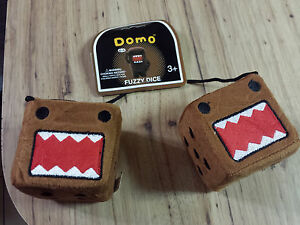DOMO-Plush-Road-Rage-Fuzzy-Dice-Angry-Face-FREE-Lanyard-Keychain-Or-Key-Cover