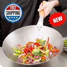"""14"""" Mandarin Carbon Steel Wok with Wood Handle Chinese Stir-Fry Food 18-Gauge"""