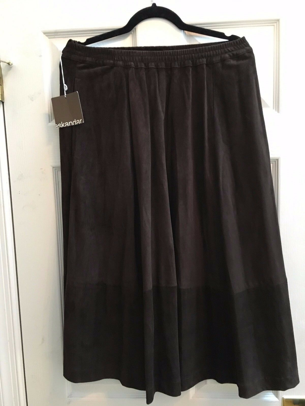 NWT Eskandar Size 0 L XL Brown A Line Suede Skirt