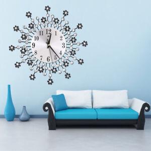 EG_ HK- Luxury Vintage Large Floral Metal Silent Wall Clock Analog ...