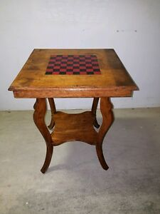 Antique-Checker-Board-Game-Table-Side-End-Stand-Nightstand-Vintage-Wood
