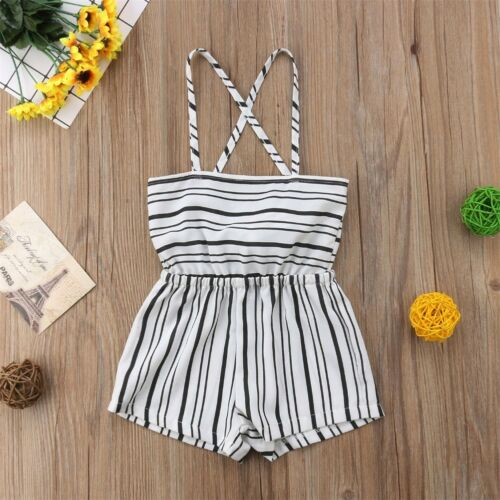 US Stock Summer Infant Toddler Baby Girl Striped Romper Jumpsuit Clothes Outfits