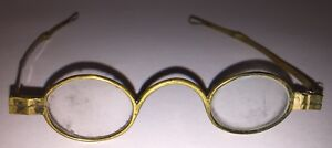 Antique-CIVIL-WAR-ERA-Brass-Spectacles-Eye-Glasses-Oval-Turnpin-Teardrop-Finials