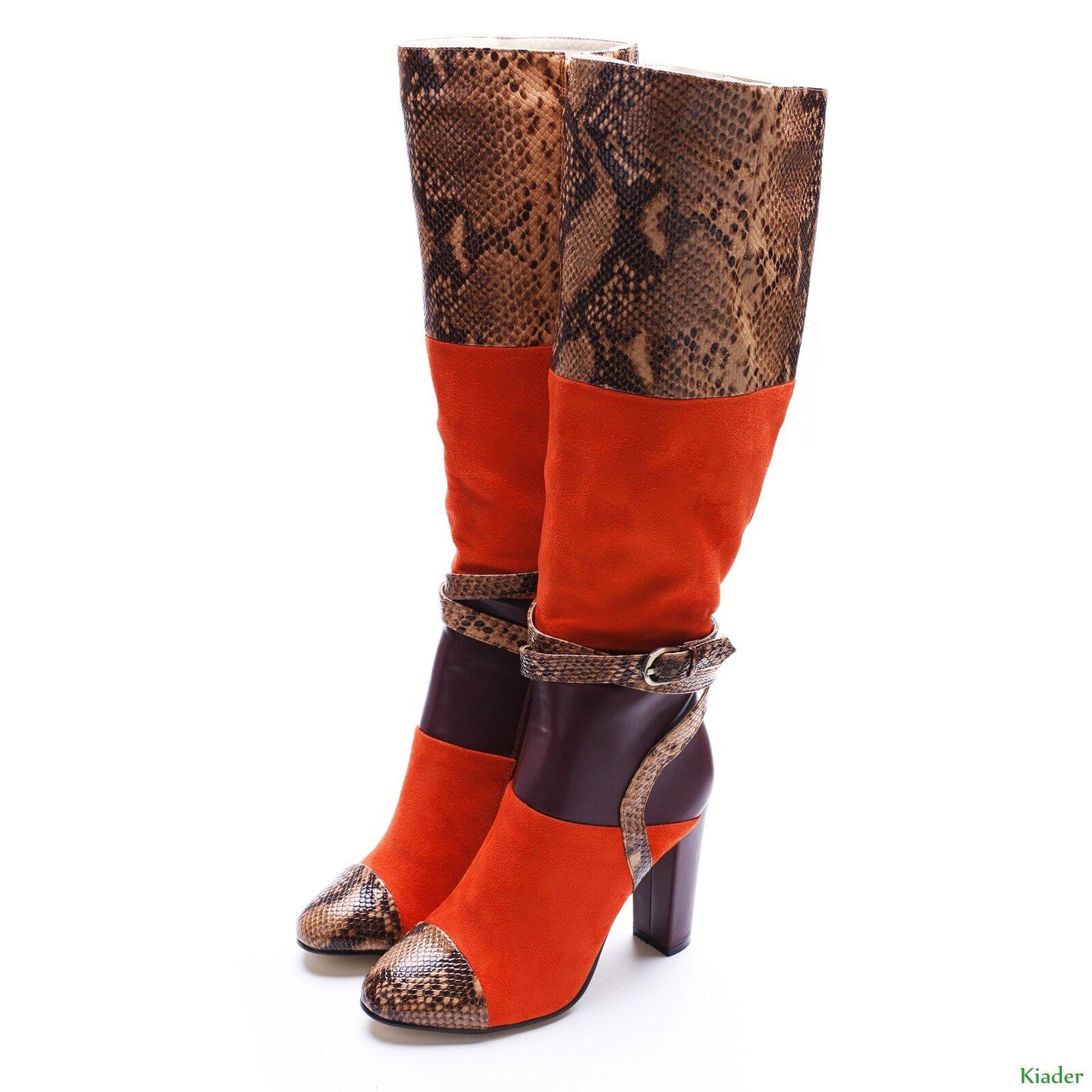 Gladiator Women Snake Skin Block Heels Knee High Boot Buckle Strap Shoes Size