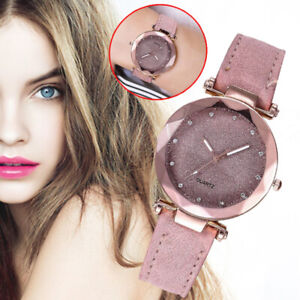 Glitter-Sparkling-Women-039-s-Wrist-Watch-Rose-Gold-Leather-Bracelet-Ladies-Gift-New