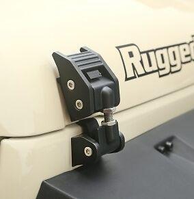 Black fits 2007-2018 Jeep Wrangler JK JKU 11210.17 Rugged Ridge Hood Catch Kit