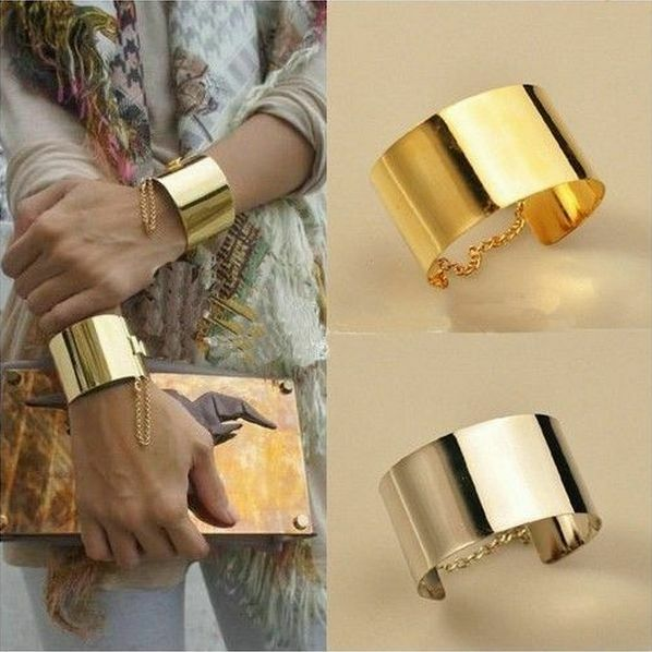 Women Fashion Wide Mirror Metallic Silver&Gold Chains Bangle Punk Bracelets Hot
