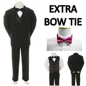 Black Bow Tie S-4T New Baby Toddler Boy Black Formal Wedding Party Suit Tuxedo