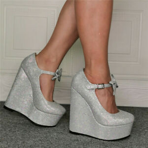 Womens-High-Wedge-Heel-Pump-Platform-Round-Toe-Ankle-Bows-Glitter-Shoes-Party-UK