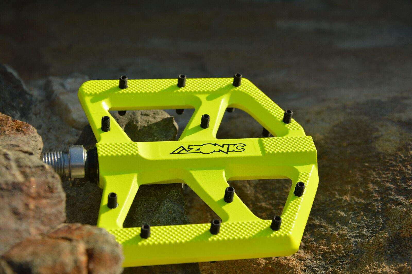 Azonic Kamikaze Rl MTB Piatto Pedali Intercambiabili Stahlpins Gituttio Fluo