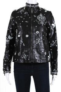 Valentino Womens Zodiac 2016 Printed Biker Jacket Black White Leather Size IT 40