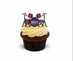 Cake Decorations Musical Instruments : DRUMS 12 STAND UPS Edible Image Cake Toppers birthday ...