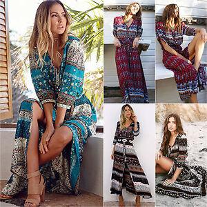 Damen-Sommer-Boho-Hippie-Lang-Maxikleider-V-Ausschnitt-Party-Strandkleid-Kleider