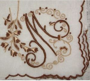 M-Initial-Beautiful-Brown-amp-Taupe-Pristine-Vintage-Madeira-Linen-Handkerchief
