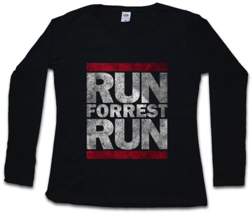 RUN FORREST RUN DAMEN LANGARM T-SHIRT Run Fun DMC Forrest Lauf Gump Movie Quote