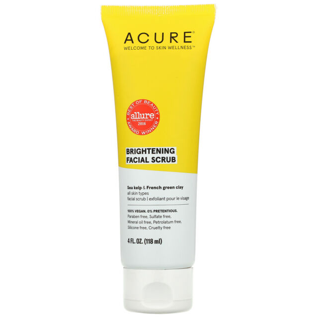 Acure Organics Brilliantly Brightening Facial Scrub 4 fl oz 118 ml Cruelty-Free,