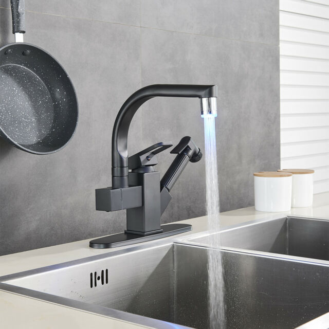 WEWE Single Handle Kitchen Sink Faucet Pull Out Sprayer Brushed Nickel Mixer Tap