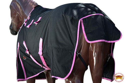 C-H-75 75 in Hilason 1200D Poly Turnout Horse Winter Belly Wrap Sheet Black