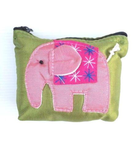 NEW THAI ELEPHANT COIN BAG PURSE WALLET CARD HANDMADE SILK GIFT SOUVENIR COLLECT