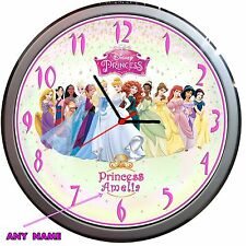 Novelty ALL DISNEY PRINCESS Wall Clock Kids Bedroom Girl gift Personalised
