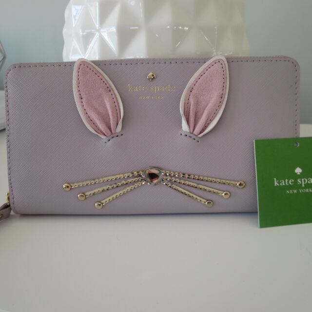 KATE SPADE MAKE MAGIC BUNNY RABBIT WHISKERS FLUFFY WHITE TAIL LACEY ZIP WALLET