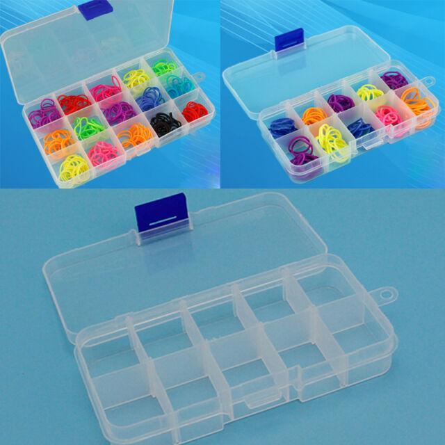 15/10 Slots Plastic Storage Box Adjustable Jewelry Bead Case Craft Organizer New