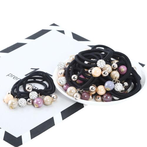 Women Hairband Ponytail Holder Elastic Hair Tie Band Rope Hair Ring Flower Pearl