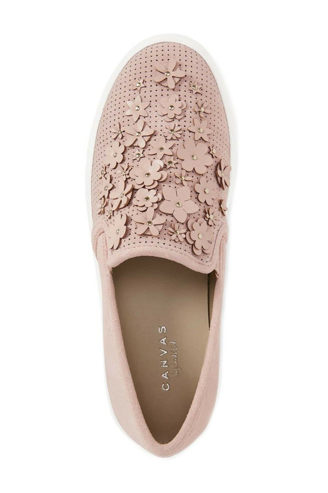 Lands End End End Canvas 3D Flowers Studs Perf Leather Sneaker SlipOn Womens 10 Pink NIB b7f2fe
