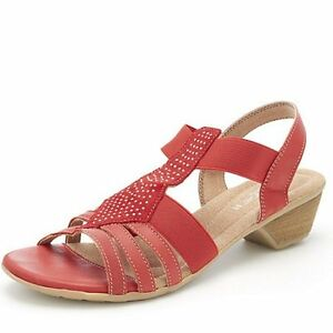 b5012d47e2e Details about Relaxshoe Leather Sandal with Elasticated Strap & Diamante  Detail Size 5 New