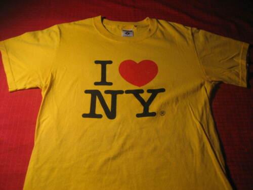 VTG I LOVE NY T SHIRT SMALL YELLOW I HEART NY NEW