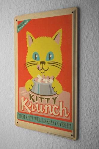 Tin Sign Cat  Nostalgia yellow Kitty Cat Food Bowl Metal Plate