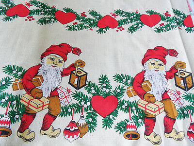 8 m Weihnachtsmotiv Stoff Ballen Wichtel Zwerg Weihnachten Deko DDR Tischdecke