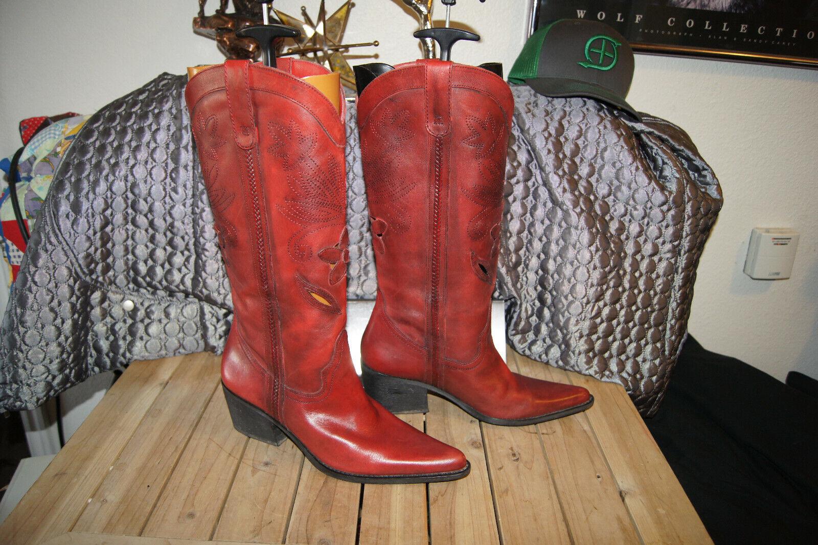 Carlos Santana botas 9 Hondero Cuero Corte Láser Vaquera Occidental botas 9 M rojo