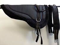 High Quality Bareback Saddle Pad Faux Sheepskin Fur Lined With Girth&stirrupsblk