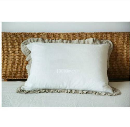Flouncing Style 100/% Nature Linen Pillowcase Waterwashed  Pillow Cover