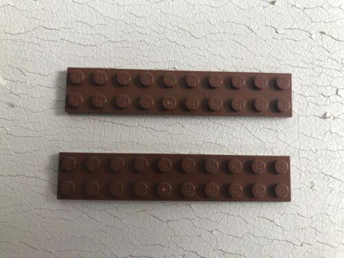 Lego Flat Plate 2x10  Part  3832 X 2 Reddish Brown