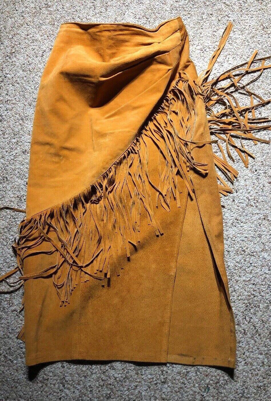 Phoenix Leather USA Fringe Pocahontas Pig Split High Waist Sz 7 8 BOHO HIPPIE