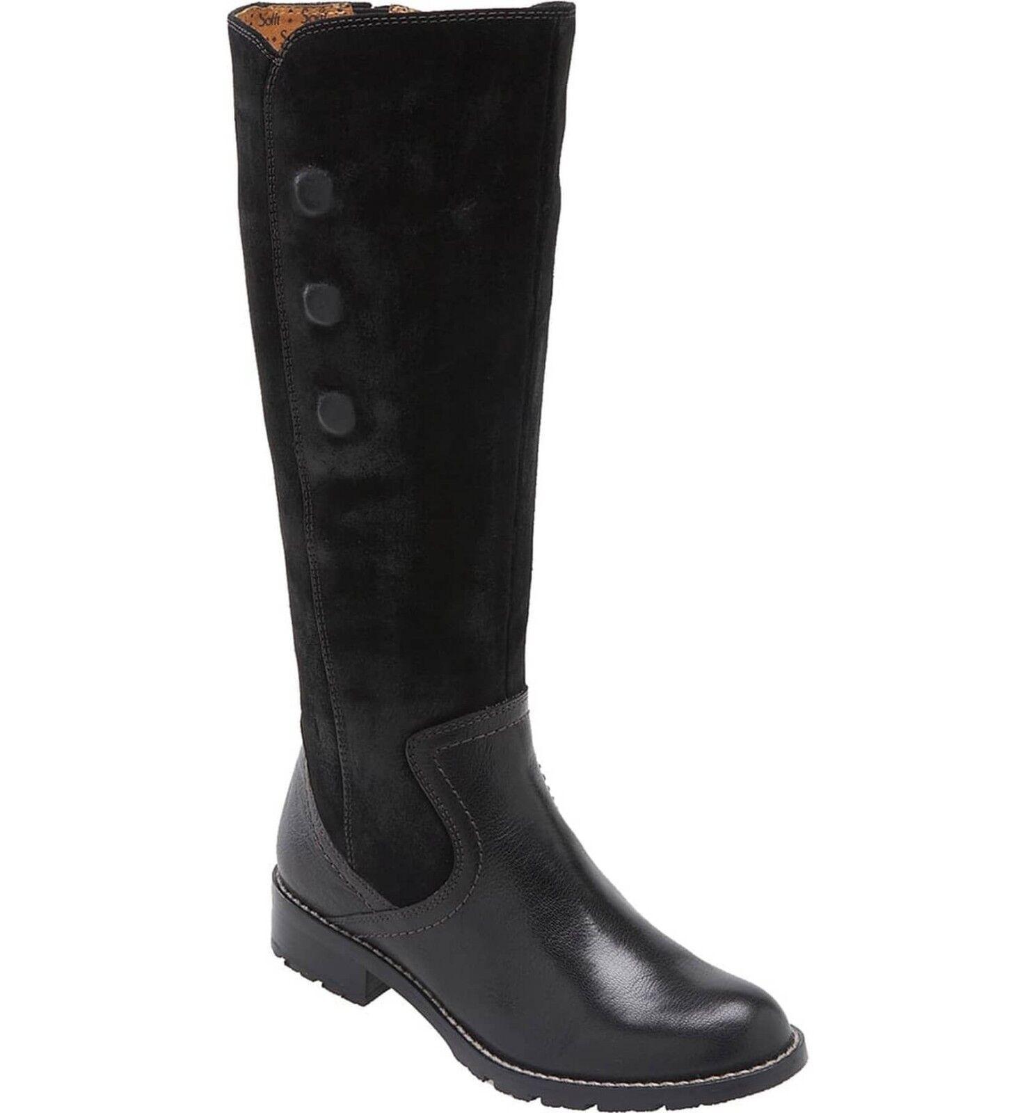 Sofft Zapatos Bergamo Alto botas De Montar Negro Cuero & Gamuza 8  plana con cremallera lateral