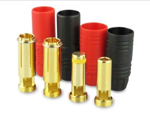 7 mm Goldkontakt Stecker und Buchsen  Anti-Spark mit Blitzschutz 2 Paar bis 200A
